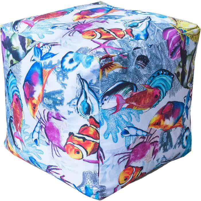 Пуфик бескаркасный Mypuff Кубик рыбки мебельный хлопок k-395
