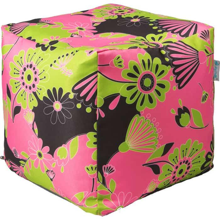 Пуфик бескаркасный Mypuff Кубик цветы розовые мебельный хлопок k-557 пуфик бескаркасный mypuff кубик космос мебельный хлопок k 516