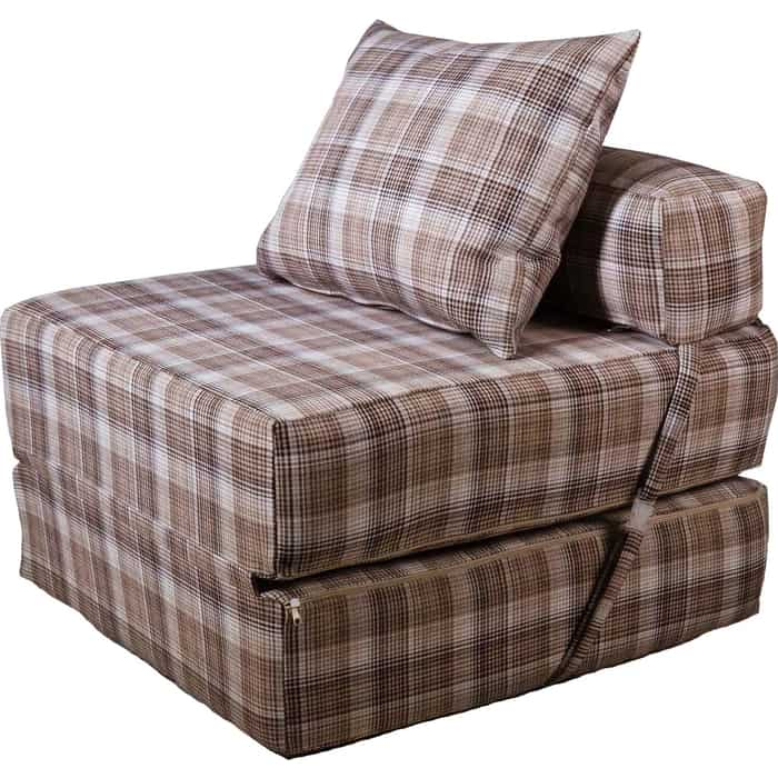 Кресло бескаркасное Mypuff Коричневая клетка мебельный хлопок kv-507