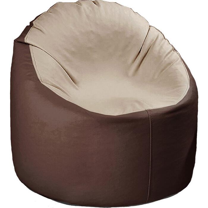 кресло бескаркасное mypuff лаунж отто бежевый экокожа l 434 Кресло бескаркасное Mypuff Лаунж отто шоколад с бежевым экокожа L-147-434