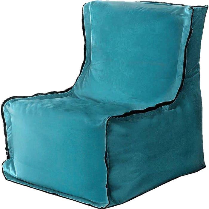 Бескаркасное кресло Mypuff Лофт бирюза мебельный велюр lf-398