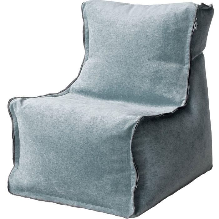 Бескаркасное кресло Mypuff Лофт-Элит серо-голубой микровельвет lf-455