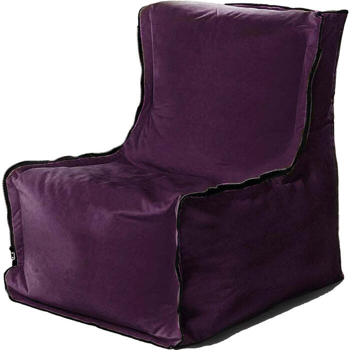 Бескаркасное кресло Mypuff Лофт баклажан мебельный велюр lf-467