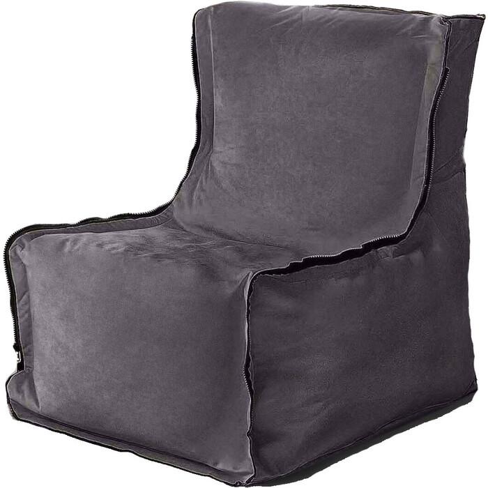 Кресло бескаркасное Mypuff Лофт антрацит мебельный велюр lf-472