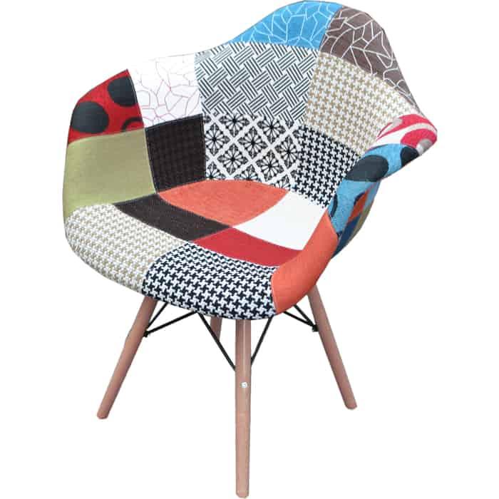 Кресло обеденное Garden story Терри премиум каркас светлое дерево/сиденье разноцветное W-127