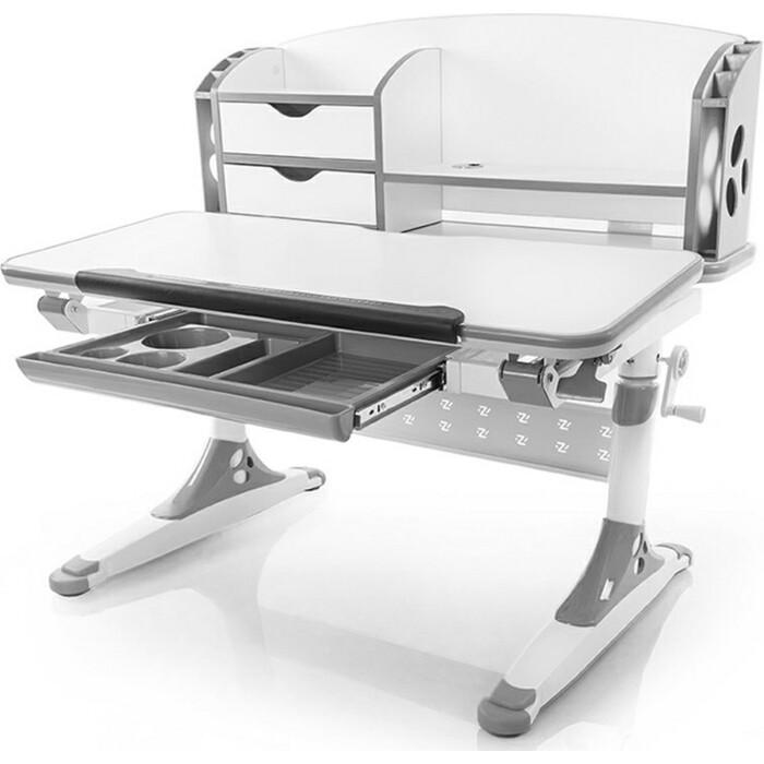 Стол Mealux Aivengo-M (BD-700) WG (BD-700 столешница белая/ножки белые с серыми накладками)