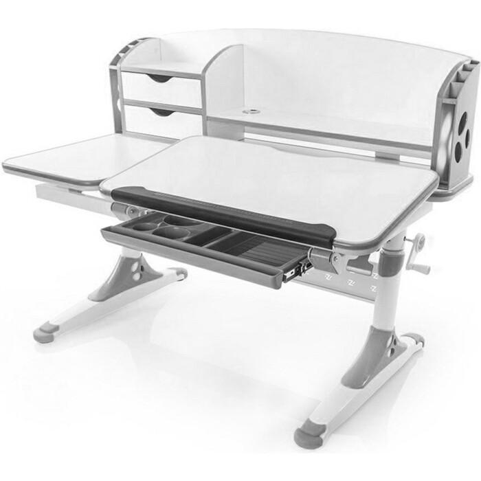 Стол Mealux Aivengo-L (BD-720) WG столешница белая/ножки белые с серыми накладками