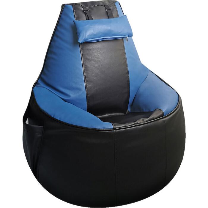 Бескаркасное игровое кресло Mypuff Геймер черно-синее экокожа G_057_061
