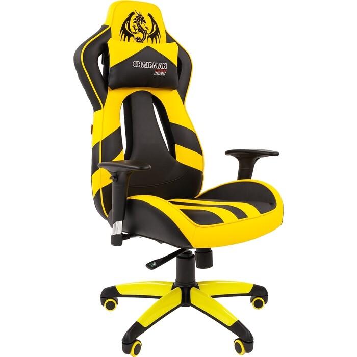 Кресло Chairman Game 25 экопремиум черный/желтый