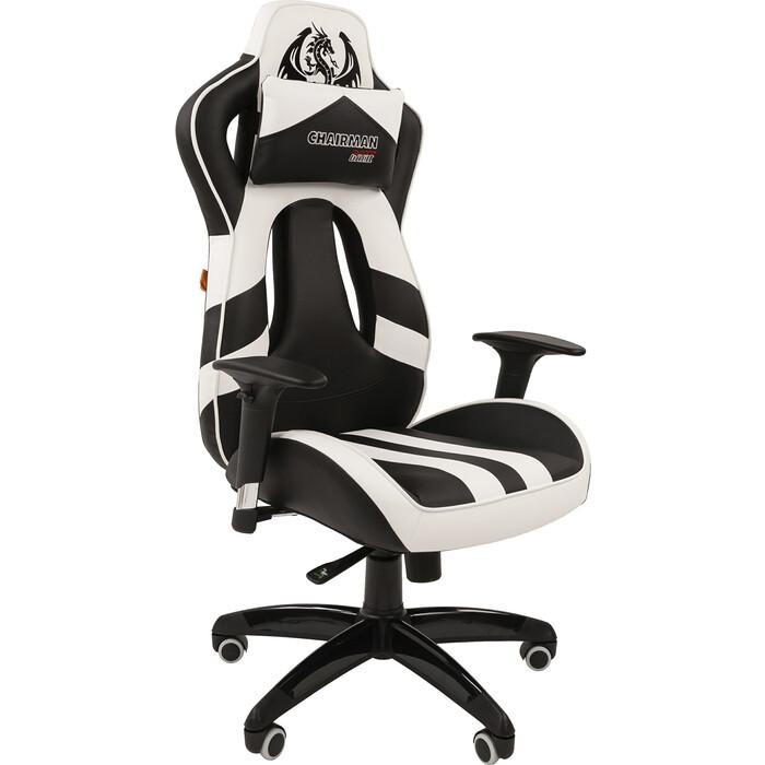 Кресло Chairman Game 25 экопремиум черный/белый