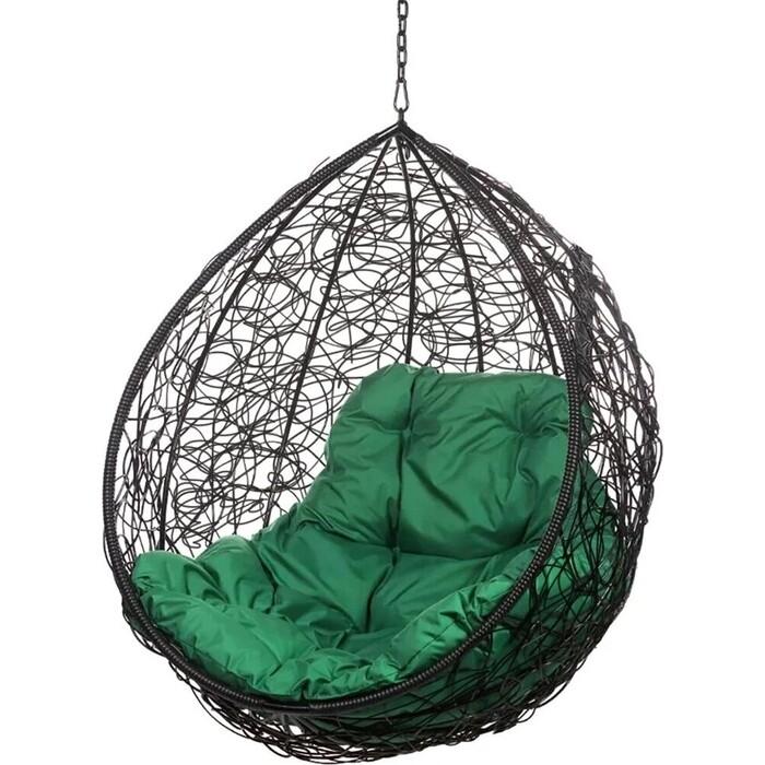 Подвесное кресло BiGarden Tropica black BS без стойки зеленая подушка