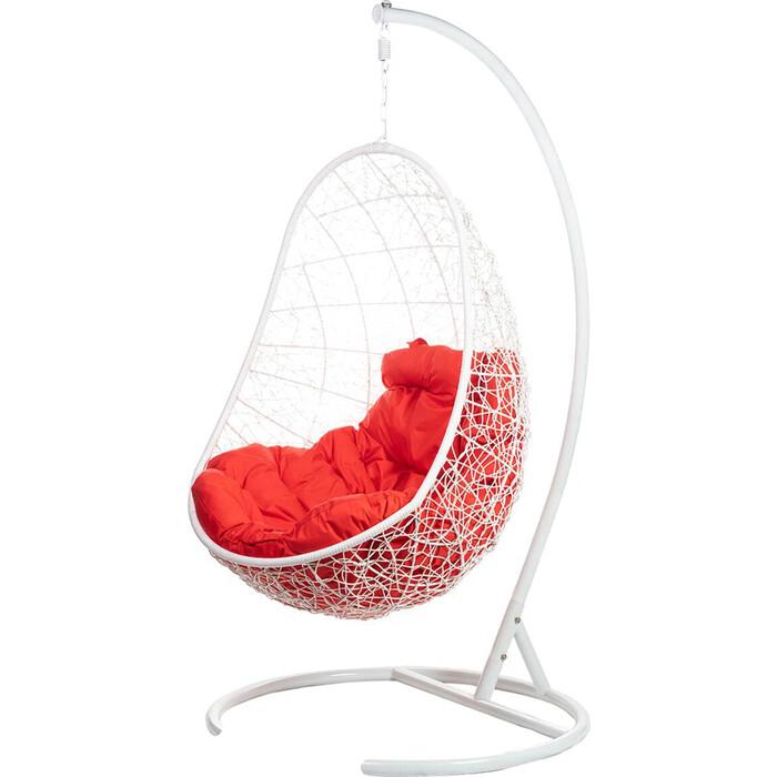 Подвесное кресло BiGarden Easy white красная подушка