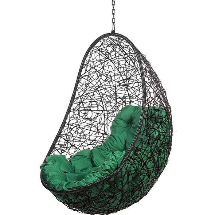 Подвесное кресло BiGarden Easy black BS без стойки зеленая подушка