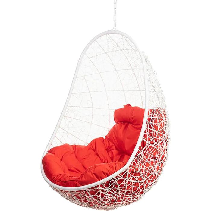 Подвесное кресло BiGarden Easy white BS без стойки красная подушка