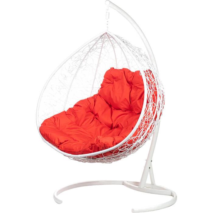 Двойное подвесное кресло BiGarden Gemini white красная подушка