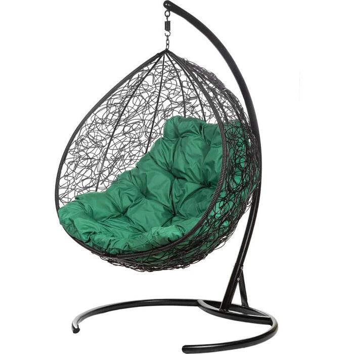 Двойное подвесное кресло BiGarden Gemini black зеленая подушка