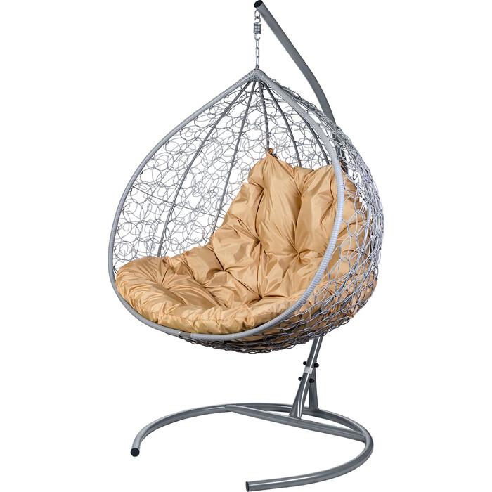 Двойное подвесное кресло BiGarden Gemini promo gray бежевая подушка