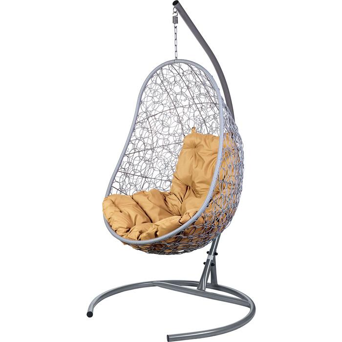 Подвесное кресло BiGarden Easy серое, бежевая подушка