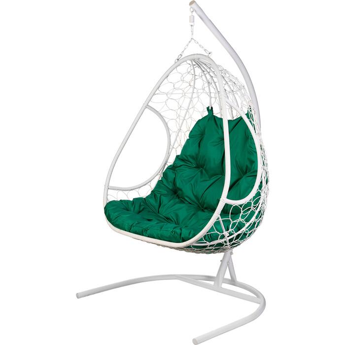 Двойное подвесное кресло BiGarden Primavera white зеленая подушка