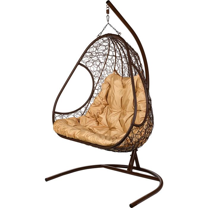 Двойное подвесное кресло BiGarden Primavera brown бежевая подушка