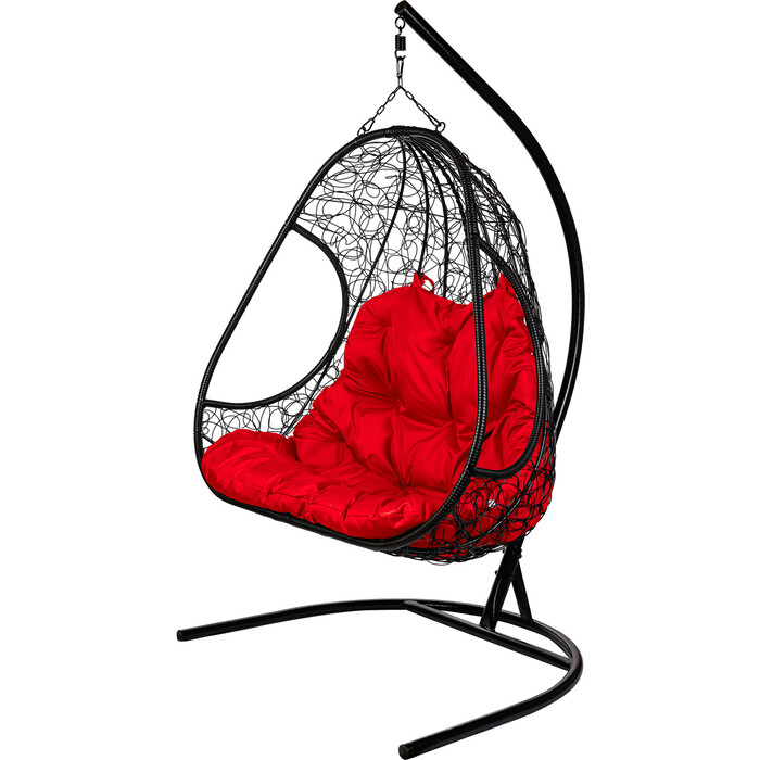 Двойное подвесное кресло BiGarden Primavera black красная подушка