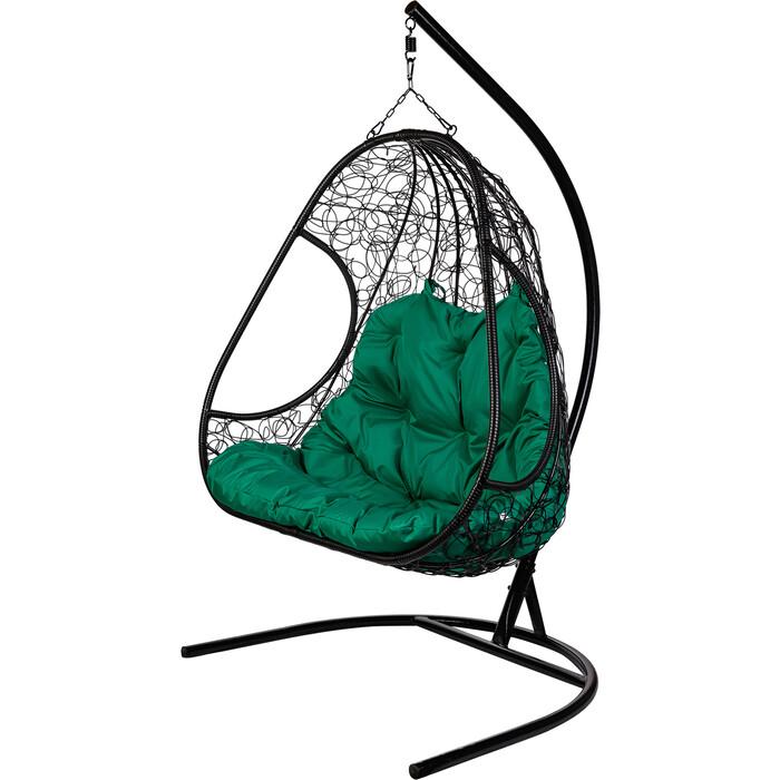 Двойное подвесное кресло BiGarden Primavera black зеленая подушка