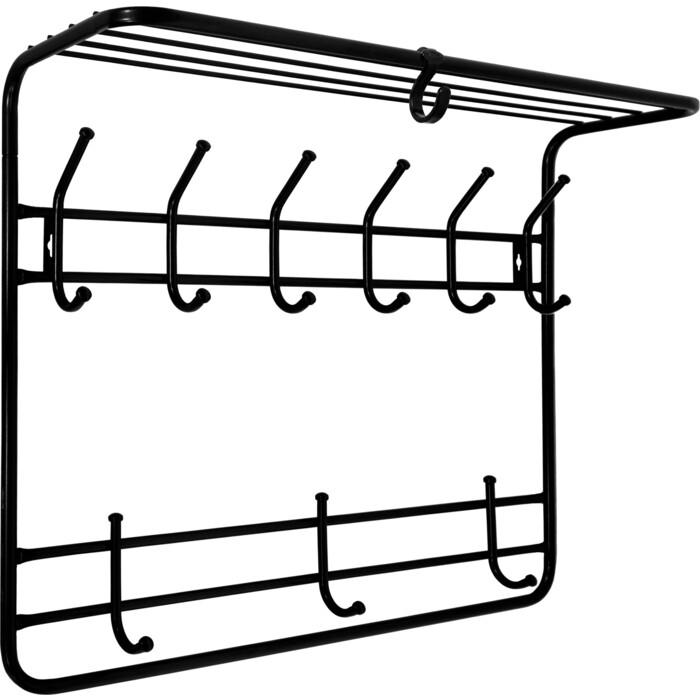 Вешалка ЗМИ Черная двухярусная настенная с полкой 80см (ВСП 9 Ч)