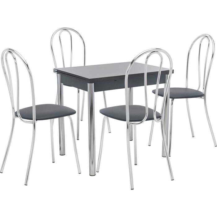 Набор мебели для кухни стол Мебель Импэкс Стол Лиль 1Р антрацит + стул Луар к/з черный