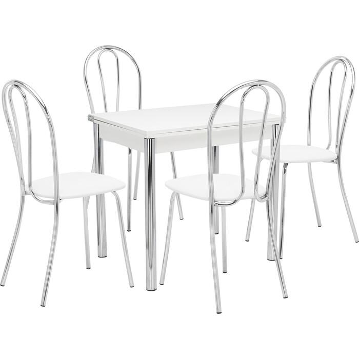 Набор мебели для кухни стол Мебель Импэкс Стол Лиль 1Р белый + стул Луар к/з