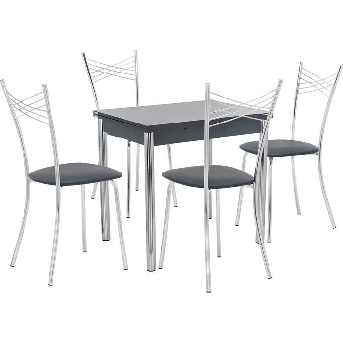 Набор мебели для кухни стол Мебель Импэкс Стол Лиль 1Р антрацит + стул Рейн к/з черный