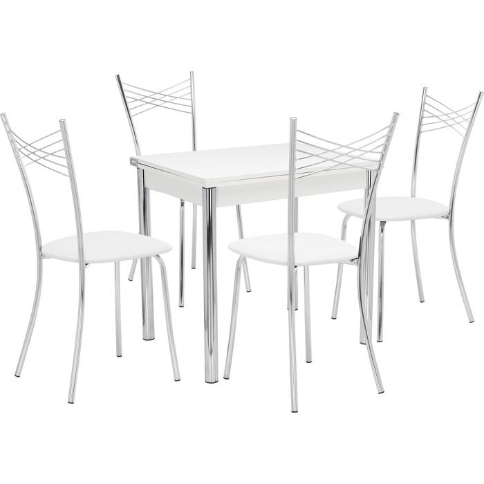 Набор мебели для кухни стол Мебель Импэкс Стол Лиль 1Р белый + стул Рейн к/з