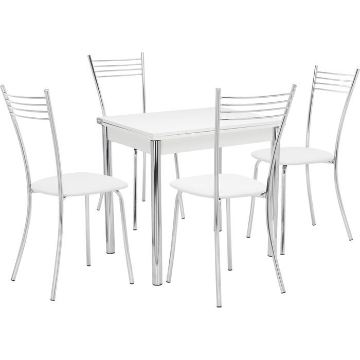 Набор мебели для кухни стол Мебель Импэкс Стол Лиль 1Р белый + стул Тахо к/з