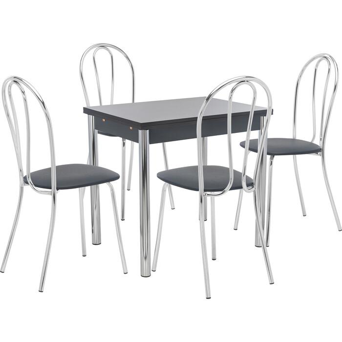 Набор мебели для кухни стол Мебель Импэкс Стол Марсель 1Р антрацит + стул Луар к/з черный