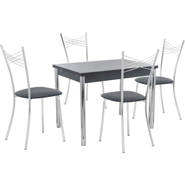 Набор мебели для кухни стол Мебель Импэкс Стол Марсель 2Р антрацит + стул Рейн к/з черный