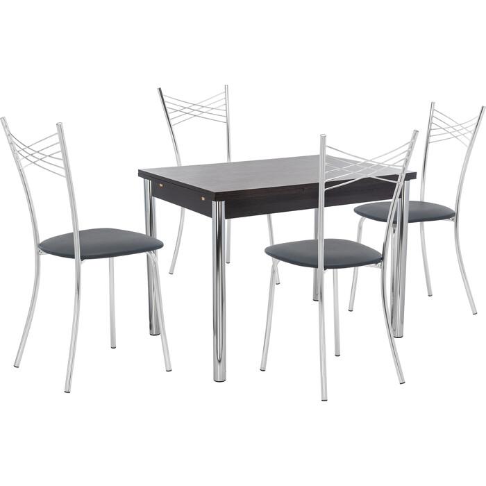 Набор мебели для кухни стол Мебель Импэкс Стол Марсель 2Р венге + стул Рейн к/з черный