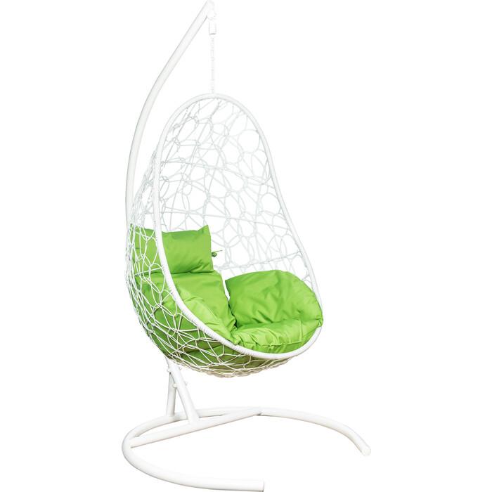 Подвесное кресло Leset Ажур каркас белый, подушка зеленое яблоко