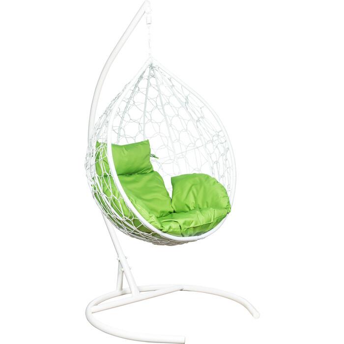 Подвесное кресло Leset Эва каркас белый, подушка зеленое яблоко