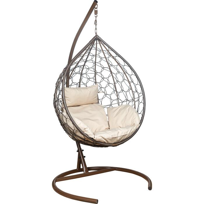 Подвесное кресло Leset Эва каркас коричневый, подушка бежевая