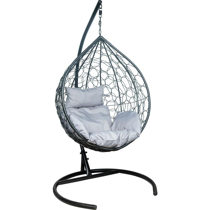 Подвесное кресло Leset Эва каркас черный, подушка светло-серая