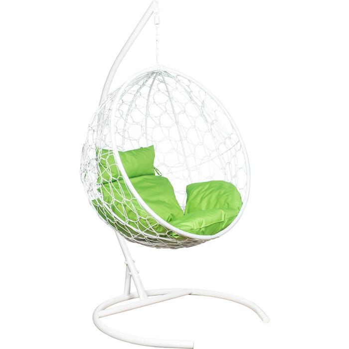 Подвесное кресло Leset Луна каркас белый, подушка зеленое яблоко