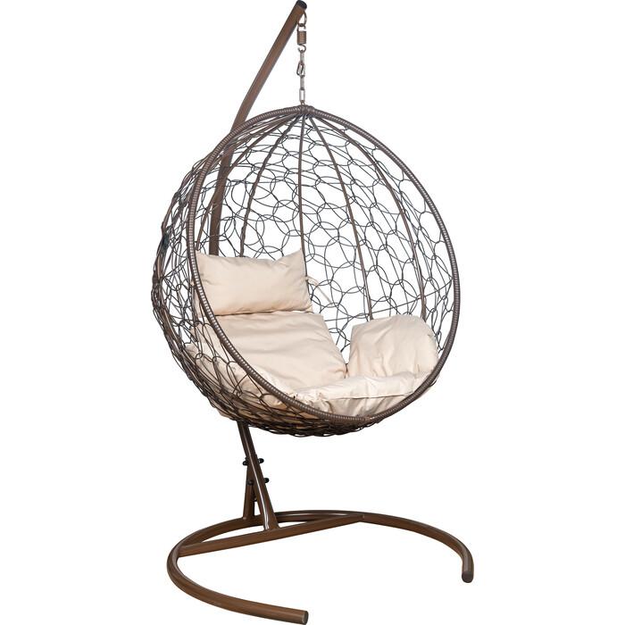 Подвесное кресло Leset Луна каркас коричневый, подушка бежевая