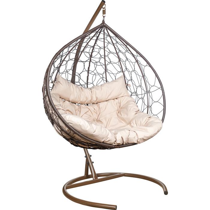 Подвесное кресло Leset Бали каркас коричневый, подушка бежевая
