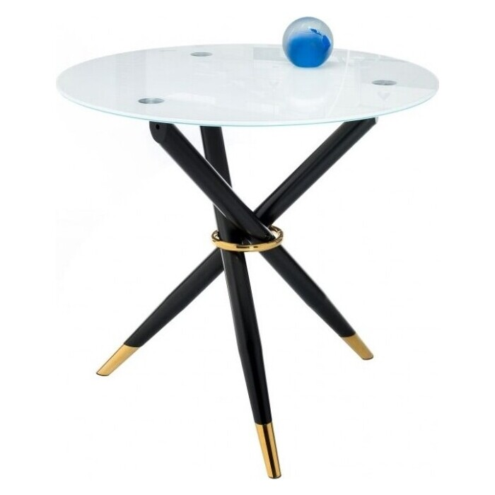 Стеклянный стол Woodville Rock white/black