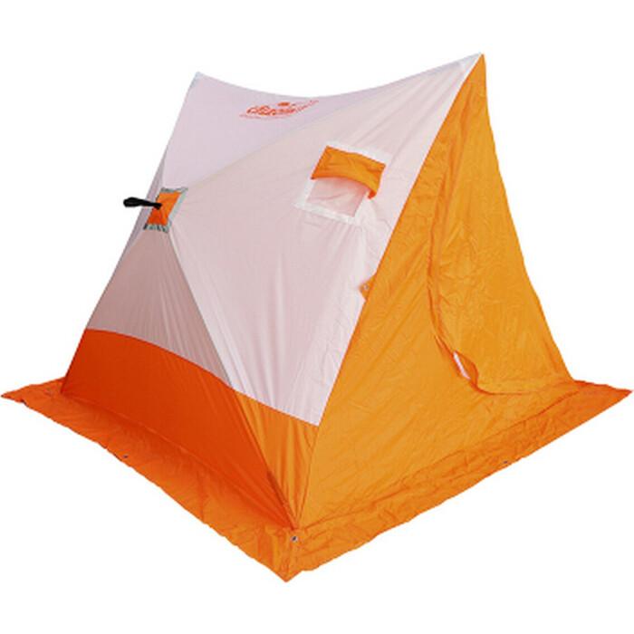 Палатка для зимней рыбалки Следопыт зимняя СЛЕДОПЫТ 2-скатная, Oxford 210D PU 1000, цв. бело-оранж.