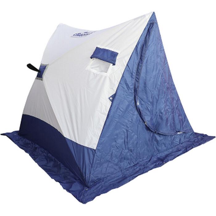 Палатка для зимней рыбалки Следопыт зимняя СЛЕДОПЫТ 2-скатная, Oxford 210D PU 1000, цв. бело-синий