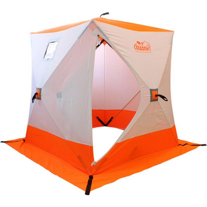 Палатка для зимней рыбалки Следопыт зимняя куб СЛЕДОПЫТ 1,5 х1,5 м, Oxford 210D PU 1000, 2-местная, цв. бело-оранж.