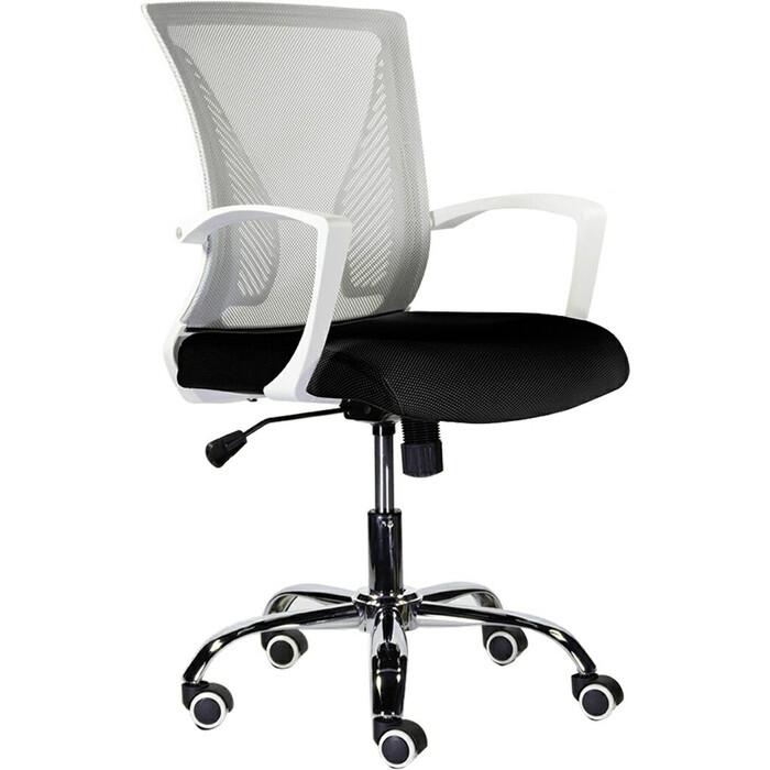 Кресло Brabix Wings MG-306 пластик белый, хром/сетка, серое/черное 532010