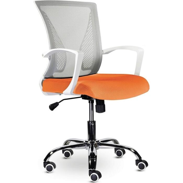 Кресло Brabix Wings MG-306 пластик белый, хром/сетка, серое/оранжевое 532011