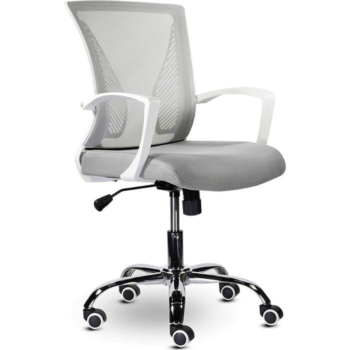 Кресло Brabix Wings MG-306 пластик белый, хром/сетка, серое 532012