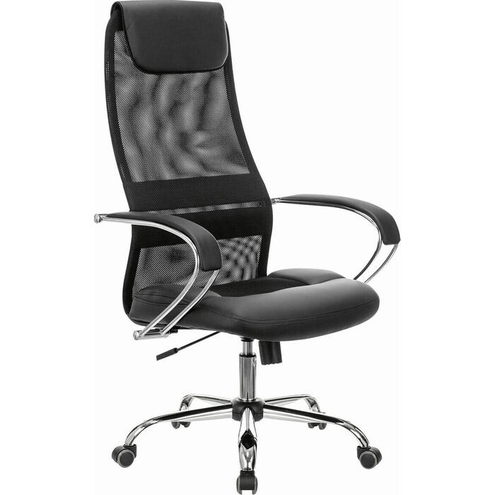 Кресло офисное Brabix Premium Stalker EX-608 CH хром ткань-сетка/кожзам черное 532091